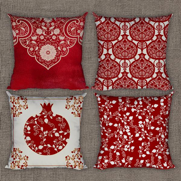 مجموعه چهار تایی کوسن یلدا با رنگ قرمز و سفید