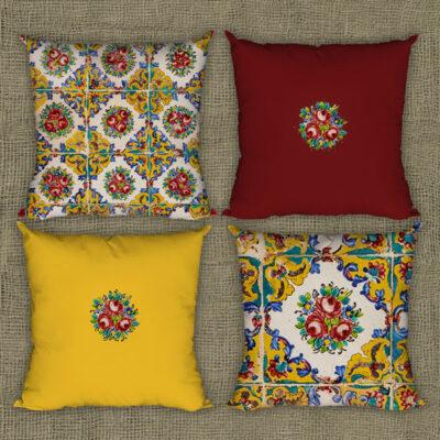 مجموعه چهار تایی کوسن طرح کاشی با رنگ زررد و قرمز های بارنگ هماهنگ