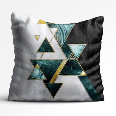 کوسن طرح سنگ و اشکال مثلثی به رنگ سبز و طلایی